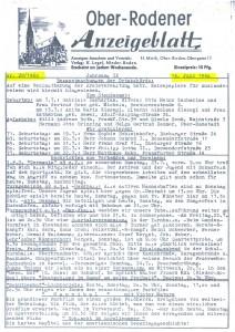 Ober-Rodener Anzeigeblatt 1960 Seite 1